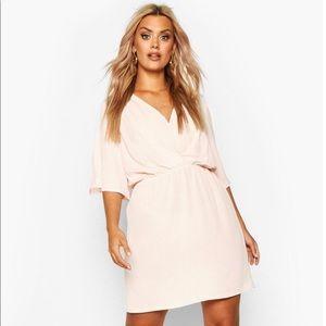 Plus Size Slogan Sleeve Smock Dress In Blush